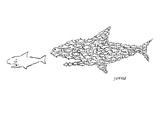 A shark is chased by a school of fish that has organized into the shape of… - New Yorker Cartoon