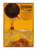 Poster with Balloon over the Alps