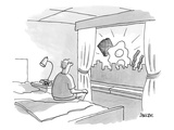 Man sitting on edge of bed looking out window at eggs  bacon  and toast - New Yorker Cartoon