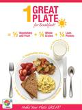 1 Great Plate® for Breakfast Educational Laminated Poster