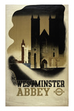 London Underground Poster Featuring Westminster Abbey  1934