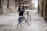 Boy with Bicycle  Smoking a Pipe