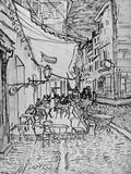 Terrace of the Cafe in the Evening (Night cafe in Arles)  Reed Pen Drawing after the Painting  1888