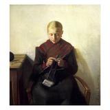 A Young Girl Knitting  Maren Brens  1887