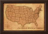 United States Vintage Style Map Poster Print