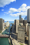 High Angle View of Chicago River and Lake Michigan  Chicago  Illinois  United States of America