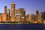 Chicago Cityscape at Dusk Viewed from Lake Michigan  Chicago  Illinois  United States of America
