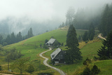 Farmhouses in Fog  Muchenland  Black Forest  Baden-Wurttemberg  Germany  Europe