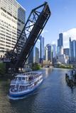 Tour Boat Passing under Raised Disused Railway Bridge on Chicago River  Chicago  Illinois  USA