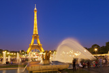 Eiffel Tower and the Trocadero Fountains at Night  Paris  France  Europe