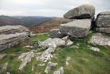 Granite Boulders on Tor Overlooking Dart Valley  Dartmoor Nat'l Pk  Devon  England  UK