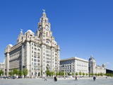 Three Graces Buildings  Pierhead  UNESCO Site  Liverpool  Merseyside  England  UK