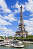 Bateaux Mouches Tour Boat on River Seine Passing the Eiffel Tower  Paris  France  Europe