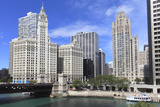 Wrigley Building and Tribune Tower  across Chicago River to N Michigan Ave  Chicago  Illinois  USA