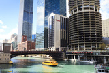 Chicago River and Towers  Chicago  Illinois  United States of America  North America