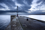 Sea Wall and Harbour Light at Bridlington  East Riding of Yorkshire  England  United Kingdom