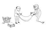 A man and a genie work together to fold laundry - New Yorker Cartoon
