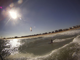 A Kiteboarder on a Wave in the Atlantic Ocean Off Nags Head
