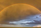 A Rainbow in a Golden Sky over the Gobi