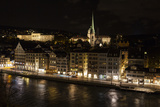 Zurich at Night, and its Reflection in the Limmat River Papier Photo par Jonathan Irish