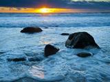 Sunset at Beach on Martha's Vineyard During Winter