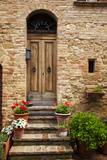 Doorway with Flowers  Pienza  Tuscany  Italy