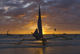 Sailing in the Ocean at Sunset  Boracay Island  Aklan Province  Philippines
