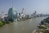 Downtown Bangkok Skyline View with Chao Phraya River  Thailand