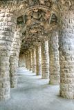 Park Guell Colonnaded Footpath  Barcelona  Spain