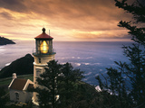 View of Heceta Head Lighthouse at Sunset  Oregon  USA