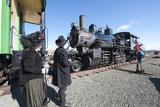 Period Dress at Historic Gold Hill Train Station  Virginia City  Nevada  USA