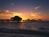 Clearwater Beach and Pier at Sunset  Florida  USA