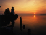 View of Sea and Lighthouse at Sunset  Cheboygan  Michigan  USA