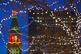 Daniels and Fisher Clock Tower with Christmas Lights  Denver  Colorado  USA