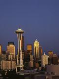 Space Needle at Dusk  Seattle  Washington  USA