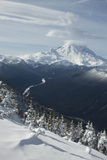View of Mt Rainier and White River from Crystal Mountain  Washington  USA