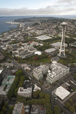 Aerial View of Seattle Center  Space Needle  and Puget Sound  Seattle  Washington  USA