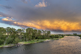 Incredible Stormy Light on the Madison River at Sunset Near Ennis  Montana  USA
