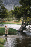 Boy Fishing at Firehole River  Wyoming  USA