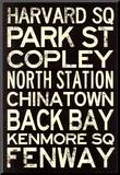 Boston MBTA Stations Vintage Subway RetroMetro Travel Poster