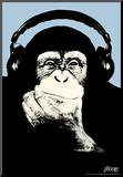Steez Headphone Chimp - Blue Art Poster Print