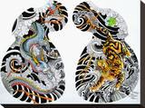 Dragon Tiger Tattoo Half Sleeve Tableau sur toile par Clark North