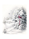 Greeting Card - Winter Scene with Red Birdhouse  National Museum of American History