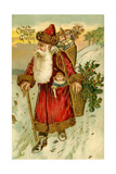 Father Christmas Dressed in Red Walking with a Gold Metallic Cane  Beatrice Litzinger Collection