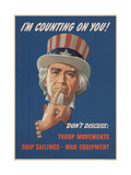 Center Warshaw Collection  Office of War Information Poster I'M COUNTING ON YOU! DON'T DISCUSS…