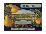 Fruit Crate Labels: Ruby Brand Pears; Entiat Fruit Growers League