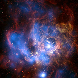 Composite Image from Chandra and Hubble Data  Divided Neighborhood of Some 200 Hot  Young Stars