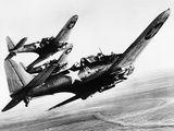 Three US Navy Dauntless Dive Bombers on a Fighting Mission in the Pacific  1943