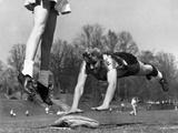Ladies Softball Player Diving for Third Base  Atlanta  Georgia  1955