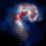 Composite Image of Antennae Galaxies - Interstellar Gas with Elements from Supernova Explosions
